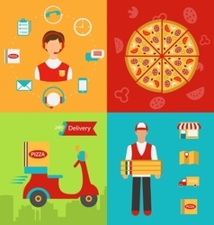 Funny pizza delivery boy riding red motor bike vector