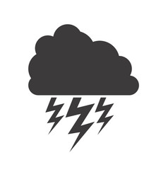 Gray silhouette of cloud with lightnings vector