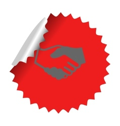 Handshake icon in sticker vector image