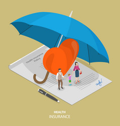 Health insurance flat isometric concept vector