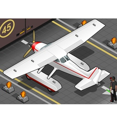 Isometric Landed Seaplane Out of Hangar vector image vector image