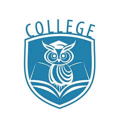 logo owl and shield for college vector image vector image