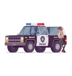 Male sheriff standing near car vector