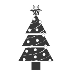 Monochrome silhouette with christmas tree vector