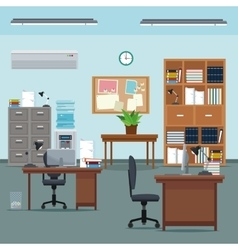 Office workspace desk chair table plant furniture vector