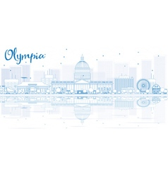 Outline olympia skyline with blue buildings vector
