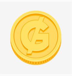 paraguayan guarani symbol on gold coin vector image vector image