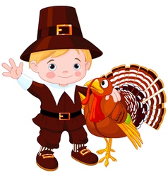pilgrim with turkey vector image vector image