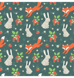 Rabbits and fox seamless pattern vector image vector image