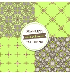 Seamless pattern sets natural neon vector
