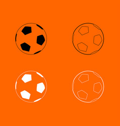 Soccer ball black and white set icon vector