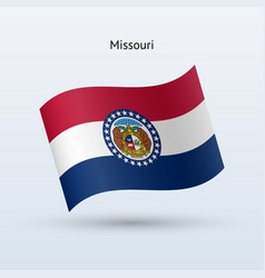 state of missouri flag waving form vector image vector image