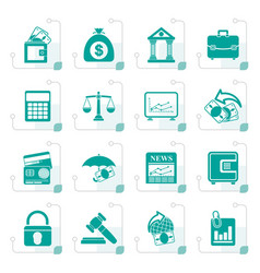 stylized business finance and bank icons vector image