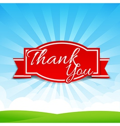 Thank you text with tag ribbon on the nature vector image