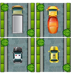 Top view of trucks and cars on the road vector