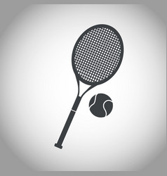 ball and racket tennis black and white vector image