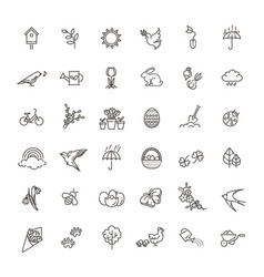 spring icons set spring garden flowers and vector image
