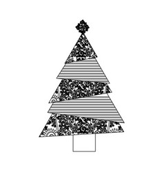monochrome background of abstract christmas tree vector image