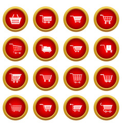 shopping cart icon red circle set vector image