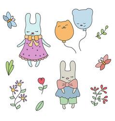 Set of cute little cartoon hares set of cute vector