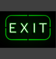 Neon banner on text exit background vector