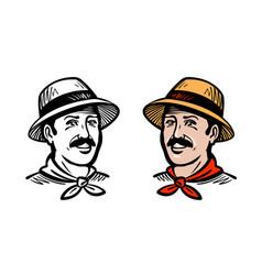 Portrait of happy farmer or gardener logo farm vector