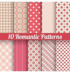 Romantic seamless patterns tiling with swatch vector image