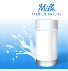 Glass of milk and milk splashes vector