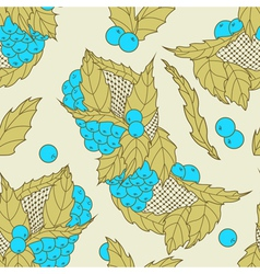 Abstract hand drawn leaves and berries seamless pa vector