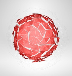 Wireframe polygonal element explosion of red 3d vector