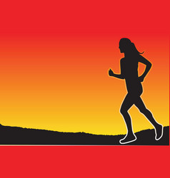 Jogging in the evening vector