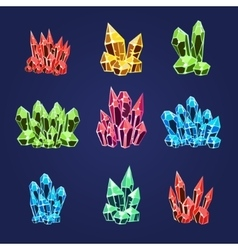 Magic crystals icons set vector