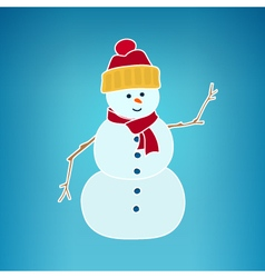 Christmas white snowman on a blue background vector