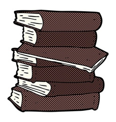 Comic cartoon pile of books vector