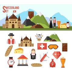 Switzerland symbols set vector image