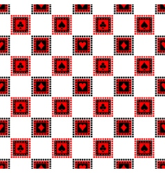 Pattern red black and white playings cards vector