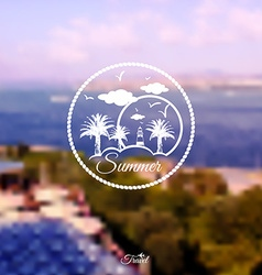 Blurred background with summer holidays logo vector