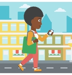 Woman walking with smartphone vector image