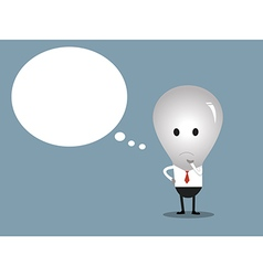 bulb man with copy space in think bubble vector image