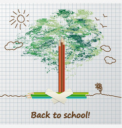 back to school background or card with pencils vector image