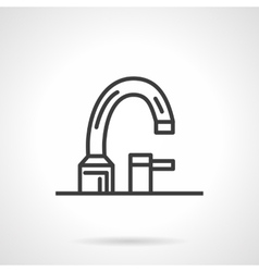 Bathroom faucet black line design icon vector image vector image
