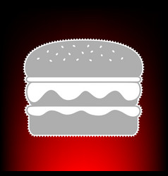 burger simple sign postage stamp or old photo vector image
