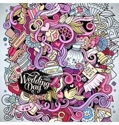 Cartoon cute doodles hand drawn wedding vector image vector image
