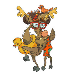 Cartoon image of crazy reindeer vector