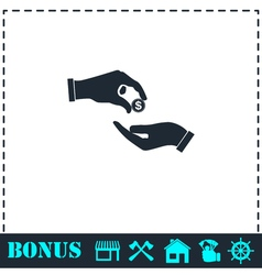 Donate icon flat vector