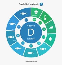 Foods high in vitamin d vector