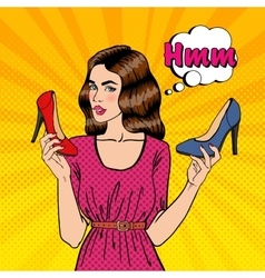 Girl choosing shoes pop art vector