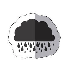 Gray silhouette sticker of cloud with rain vector