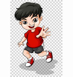 Happy boy in red shirt vector