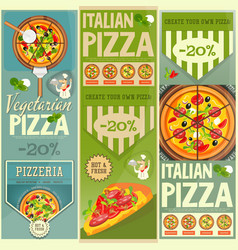 Italian pizza banners set vector